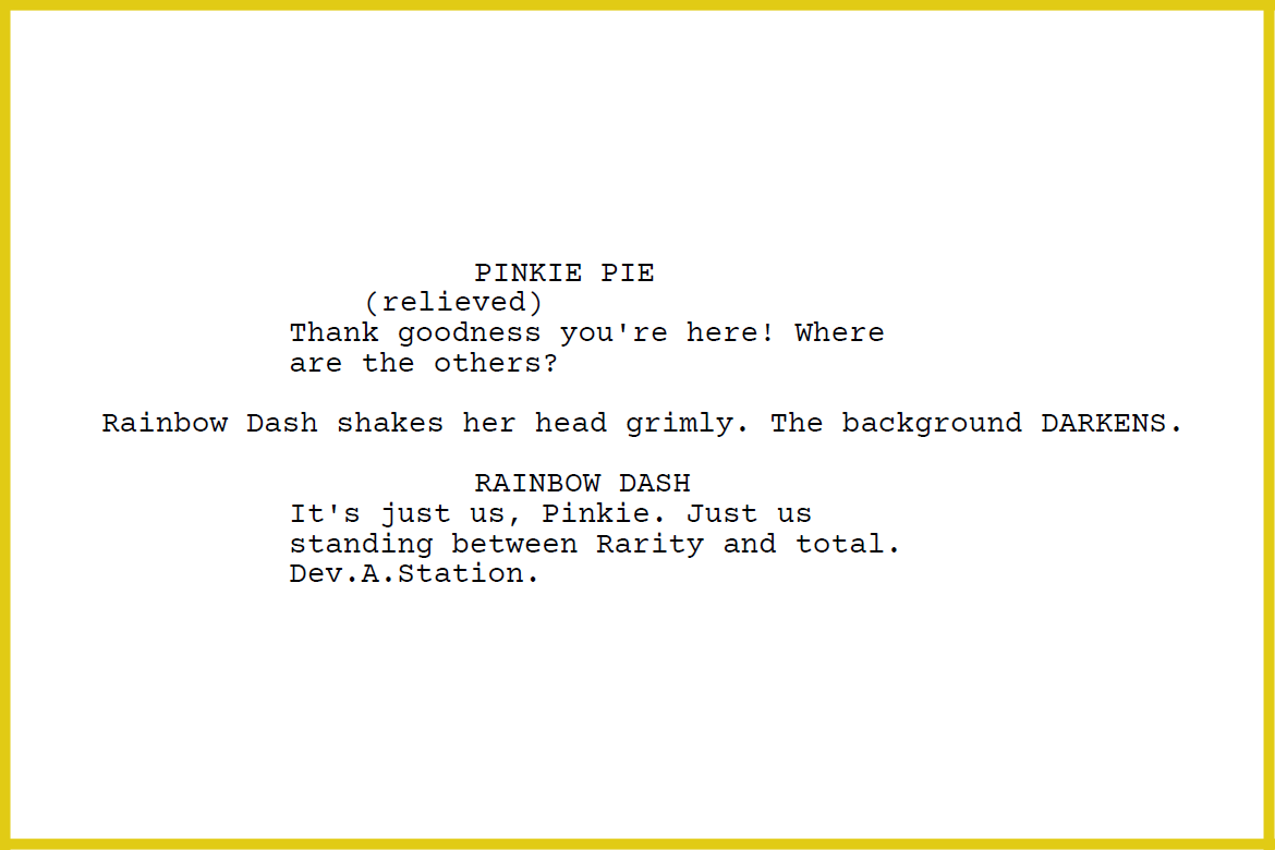 a clip from the script for the episode