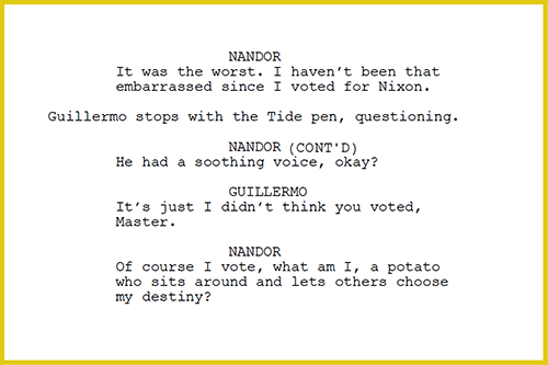 A bit from the What We do in the Shadows spec.